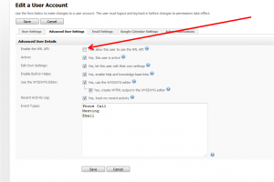 Enable XML for User Account