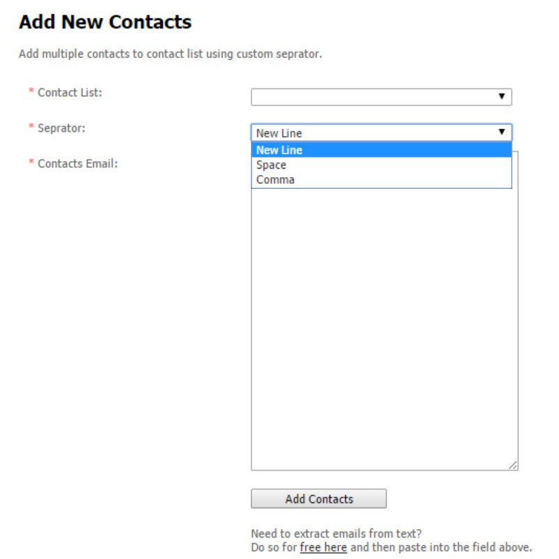 add contacts via paste page