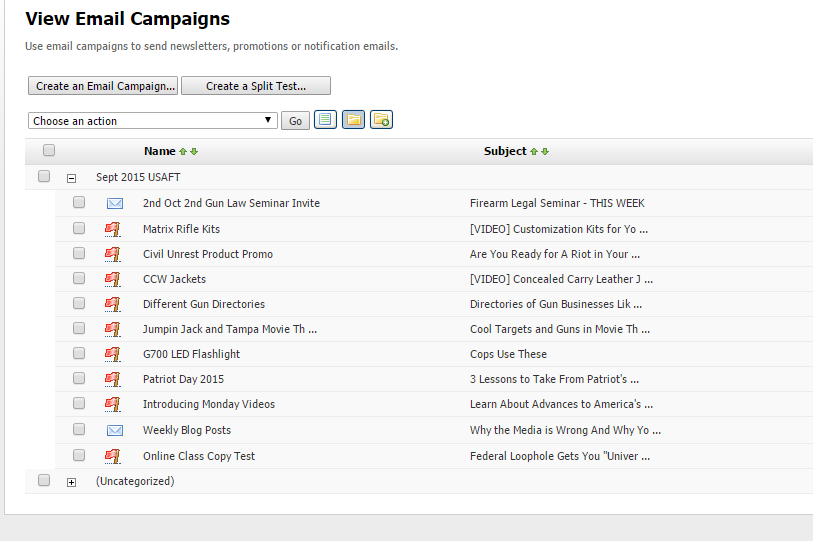 Email Campaign Folders