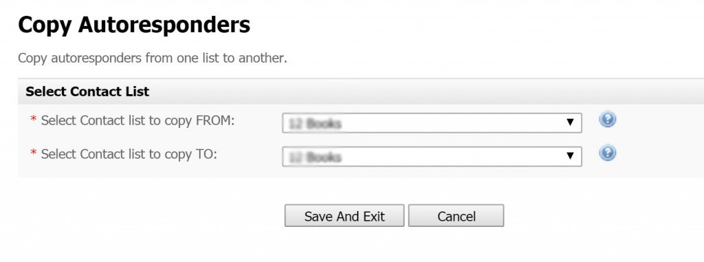 copy autoresponder to list