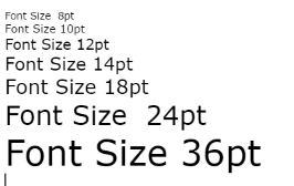 different font sizes